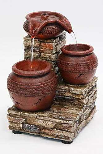 Newport Coast Collections 7' H Brick & Urns LED Water Fountain (No Adapter)