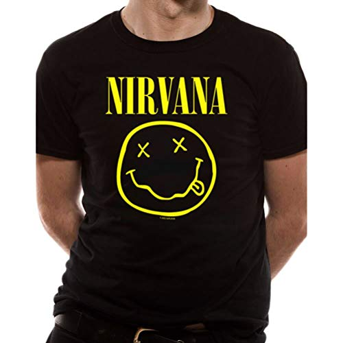 I-D-C CID Nirvana-Smiley Camiseta, Negro (, M para Hombre