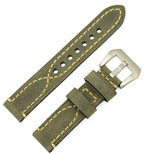 HNGM Correas para Relojes de Hombre 20 22 24mm Reloj Banda Pulsera Correa de Hombre Moda cinturón cinturón de Acero Metal Pin Hebilla (Band Color : Green, Band Width : 24mm)