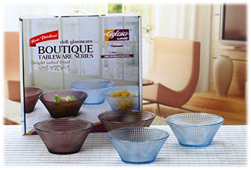 4 Piece Glass Bowl Set,Salad Bowl,snack Bowl,Durable Colour Glass,Microwave and Dishwasher Safe