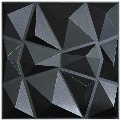 """Art3d - Pannelli 3D da parete con motivo a rilievo """"diamanti neri"""",piastrelle decorative, 50 x 50 cm, confezione da 12"""