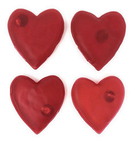 Mc-Trend® Set di 4 scaldamani tascabili, a forma di cuore, contro il freddo alle mani in autunno e in inverno, riutilizzabile
