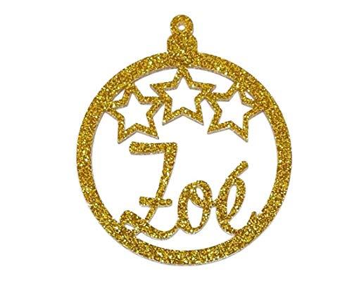 personalisierte Glitzer Ornament-Weihnachtskugel mit Sternen und Namen, Farbe wählbar