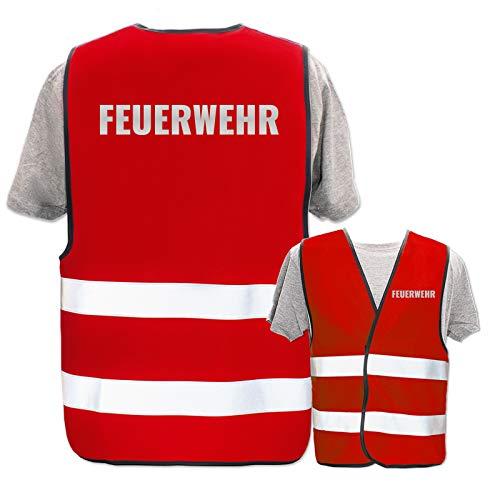 Bedruckte Marken-Warnwesten mit Leuchtstreifen * Standard- o. Reflex-Druck * Einsatzkräfte, Warnweste Begriffe Einsatzkräfte:Feuerwehr (Reflektierend), Farbe + Größe:Rot (XL/XXL)