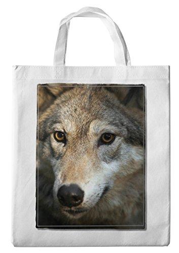 Merchandise for Fans Einkaufstasche- 38x42cm, 8 Liter - Motiv: Wolf/Grauwolf Porträt [ 12 ]