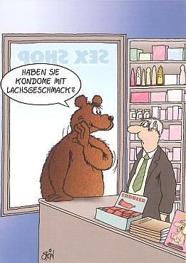 Witzige Uli Stein Postkarte Kondome mit Lachsgeschmack