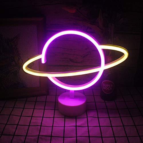 Luz de neón rosada amarilla del planeta LED básico de neón Luz de neón para niños Letrero de luz de neón USB/alimentado por batería Novedad del hogar Artículos de de Navidad (9.4'× 11.8')