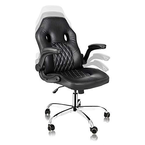 Home Office Stuhl, Gaming-Stuhl, ergonomischer Computer-Schreibtischstuhl, Drehstuhl, Chefsessel mit hochklappbaren Armlehnen und Rollrollen