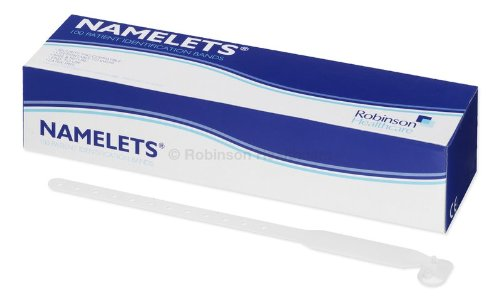 Robinson 6030 Namelets ID Bracelets Adult Write-On White (Pack of 100)