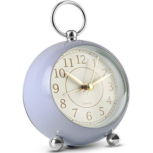 Neucox Reloj de noche silencioso, funciona con pilas, reloj