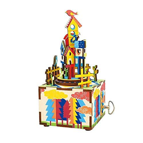3D Puzzle en Bois Cartoon Sky City Boîte De Musique, Enfants Ou Adulte Kit De Construction De Jouets, 73 * 80 * 160 Mm
