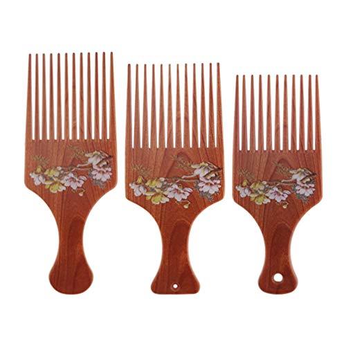 Lurrose 3 Pcs Peigne à Cheveux Chinoiserie Rétro Fleur Motif Lisse Pics Peigne Anti-Statique Pinces à Cheveux Massage Peigne Cheveux Accessoires S M L