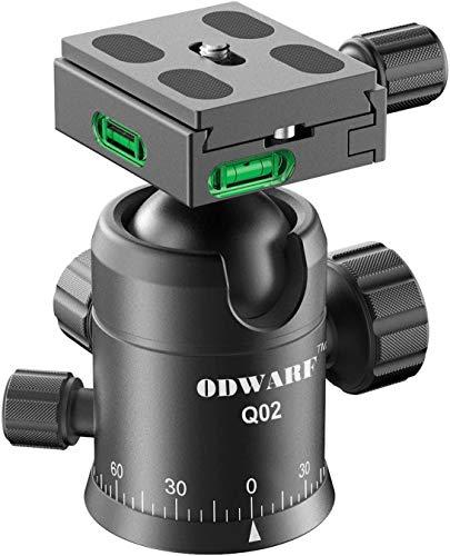 ODWARF Q02U Professional Camera Tripod Ball Head With 1/4 Inch Arca Swiss Quick Fast Plate includes Bubble Level, Max Loading 33lbs Ballhead for Tripod,Monopod,Slider,DSLR Camera,Camcorder