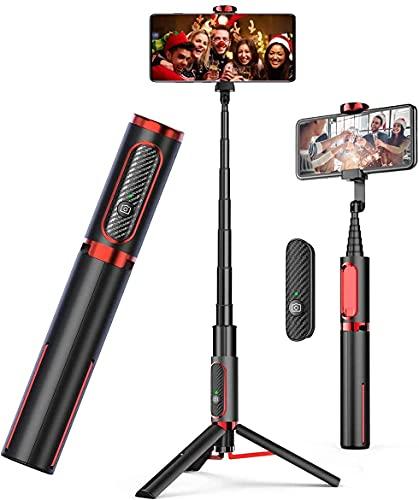 Bluetooth Palo Selfie Trípode para iPhone, Samsung Galaxy, Huawei y Todos los Smartphones para Selfie de teléfono móvil, grabación de Video, blogs de Video y en Vivo