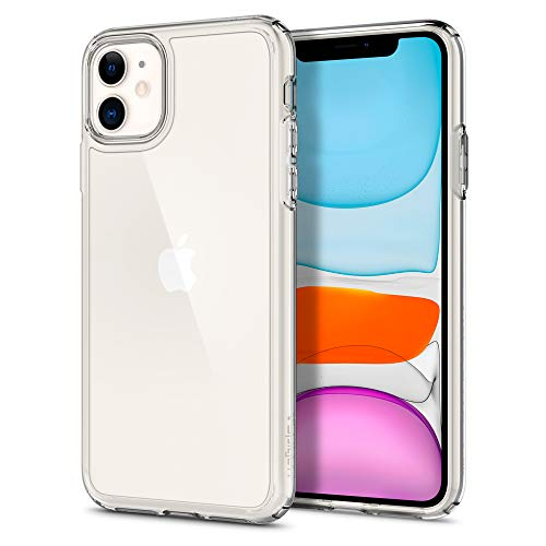 Spigen Ultra Hybrid Kompatibel mit iPhone 11 Hülle, Transparent PC Back Silikon Rahmen [Military Grade Drop Tested] Handyhülle für iPhone 11 Case Crystal Clear 076CS27185