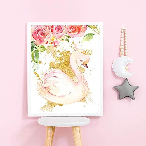 NLZNKZJ Schwan prinses kinderkamer print bloemen goud chic roze poster ballerina kunst canvas schilderij baby kinderen meisjes kamer muurkunst decor 60x90cm zonder lijst