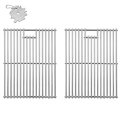 DcYourHome Solid 304 Stainless Steel Cooking Grids, Grill Grates Replacement for Charbroil 466446015, 463241113, Broil King Baron 320, Master Forge 1010037 Gas Grills Parts, 2 Pcs 17 3/8""