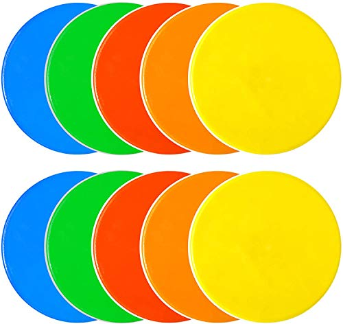 Kai Xin Spot Markers,9 Inch Anti-Slip Agility Spots Markers,Colorful Flat Field Gym Classroom Floor Spots Set for Indoor Outdoor Soccer Basketball Sports Speed Training and Drills (10 PCS)