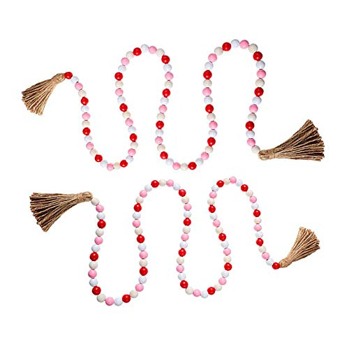 Adtop 2PCS Wooden Beaded Garland with Tassels 41 Inch Wood Bead Garlands Farmhouse Rustic Country Decoration Home Wall Hanging Holiday Decor