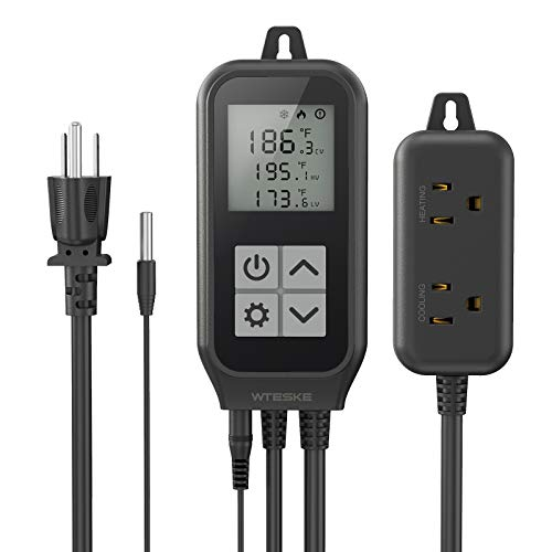 Digital Temperature Controller Thermostat Heating and Cooling Mode, Dual Relay Output Thermostat Controlled for Reptiles Aquarium Homebrew Seedlings Greehouse Germination Fermentation 10A 1250W