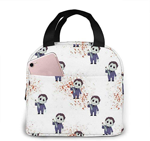 Zombies with Knives Portable Insulated Lunch Bag with Zip and Front Pocket, Waterproof Box for Women Men Boys Girls Office School Hiking Beach Picnic Fishing