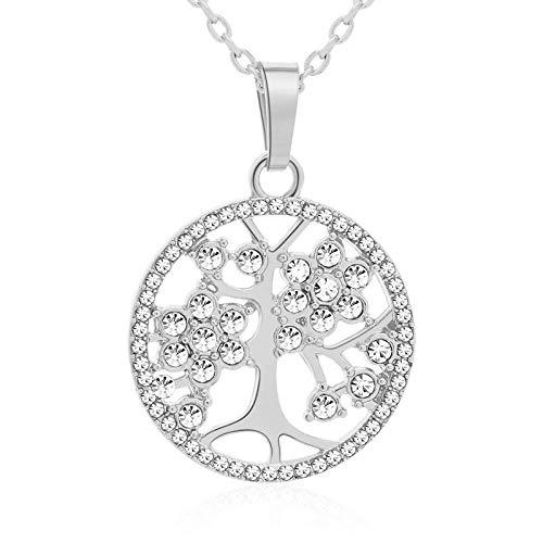 El árbol de la vida del taladro completo clásico deja un collar pequeño para la joyería de las mujeres, afortunadamente, regalo-Silver_45CM