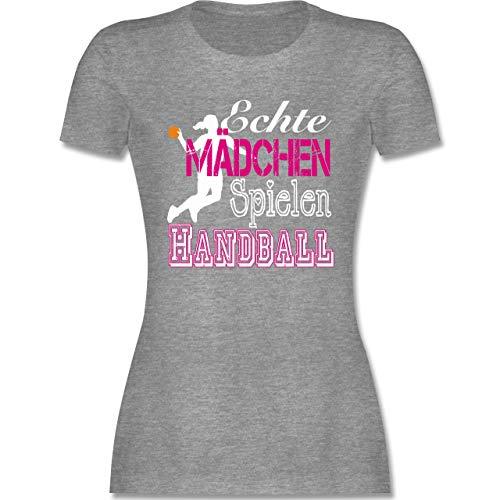 Handball - Echte Mädchen Spielen Handball weiß - S - Grau meliert - Handball mädchen t Tshirt sprüche - L191 - Tailliertes Tshirt für Damen und Frauen T-Shirt