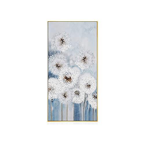 Ren handmålad oljemålning vägghängd, veranda dekorativ målning maskros vertikal blommålning, enkel veranda arbetsrum väggmålning (färg: D)