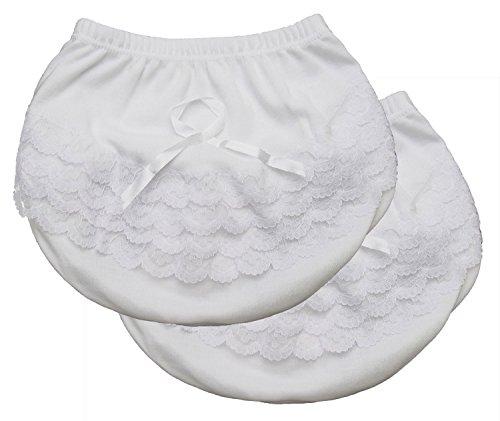 Kay's BTQ 2-Pack Baby Toddler Girl White Lace Ruffle Panty 1-8 (1)