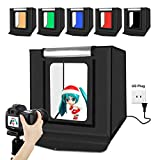 Portable Photo Studio Box - PULUZ 16 inch 40cm Portable Photography Light Tent, Professional Foldable Shooting Lighting Softbox with 2x30 LED Lights & Three-Color Backdrops for Product Display