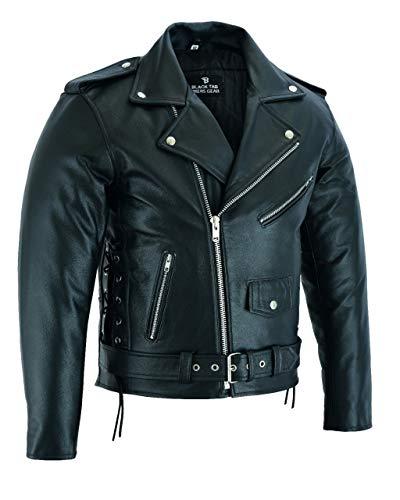 BUSA The Brando Rindsleder Leder Classic Vintage Motorrad Jacke, Schwarz, Größe M 96cm, Bikers Gear
