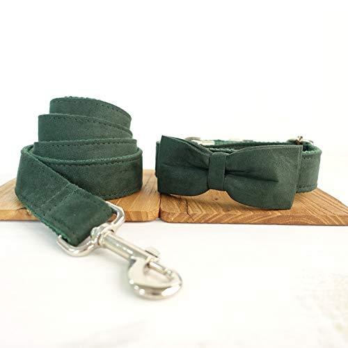 Correa para Perros Cuello de Navidad for perros y collares de perrito ajustables del terciopelo verde del diseñador del diseñador for el perro grande Plomo para Perros ( Color : B , Size : L )