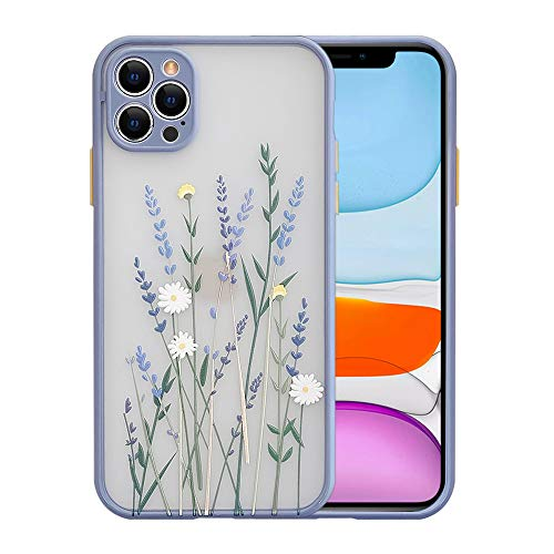 Ownest Compatible with iPhone 12 Pro Case for Clear Frosted PC Back 3D Floral Girls Woman and Soft TPU Bumper Silicone Slim Shockproof Case for iPhone 12 Pro-Purple