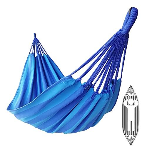 GOCAN Hamaca brasileña Individual para 1 Persona Lona 200X100 cm Longitud Total 310 cm Carga 250 kg Hamaca de algodón para jardín Exterior e Interior(Azul Pavo Real)