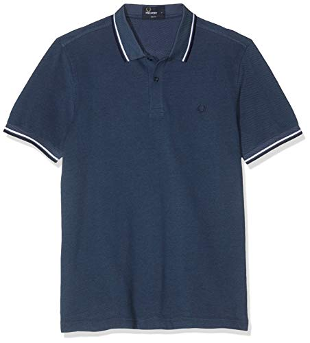 Fred Perry M3600-B74 pôle, Multicolore (Lake Oxford/White/Carbon Blue), S Homme