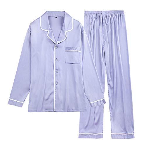 Explosion Style Herren Schlafanzug Langarm Lange Hosen Hausbekleidung Elegant Grau L