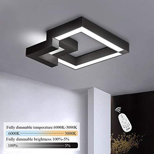 ZMH LED Deckenleuchte Wohnzimmer Modern Dimmbar Fernbedienung, Farbewechsel stufenlos warmweiß/neutralweiß/kaltweiß Deckenlampe Flur Badlampe Wohnzimmer Deckenleuchten (33W-40CM-schwarz)