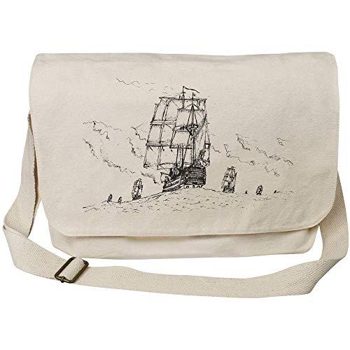 Azeeda 'Stormy Naval Scene' Cotton Canvas Messenger Bag (MS00001719)