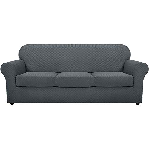 GCP Fundas de sofá con Brazos de Jacquard a Cuadros, Alfombrilla de combinación Dividida Gruesa, Sala de Estar, Que admite Mascotas, sofá, Protector de sofá, Funda para sillón (Gris Oscuro, sofá