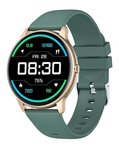 YAMAY Smart Watch Compatible iPhone and Android Phones IP68 Waterproof, Watches for Men Women Round Smartwatch Fitness Tracker Heart Rate Monitor Digital Watch with Personalized Watch Faces Green/Gold