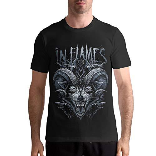 in Flames Band T Shirt Mens Fashion Shirt Cotton Tee Shirts Short Sleeve XL Black