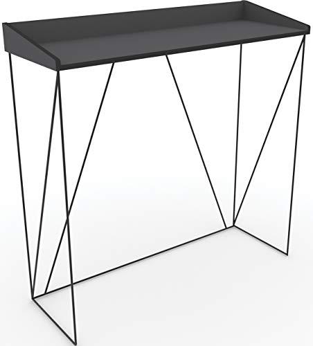 Walter - Console di design industriale, laccata, in metallo e MDF, 100 x 35 x 75 cm, colore: nero