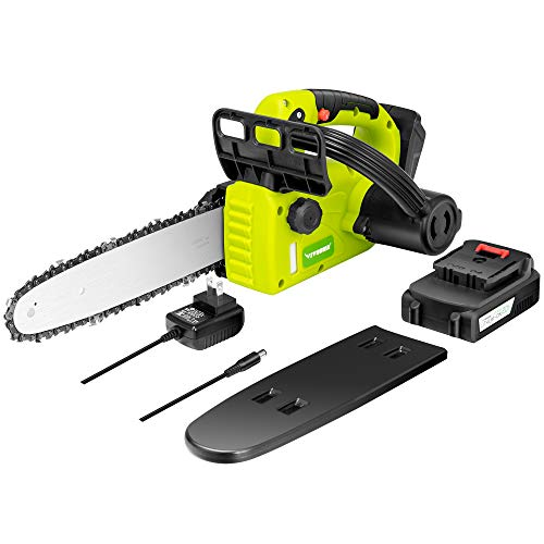 VIVOSUN 10'' 20V Cordless Chainsaw with Battery, LED Indicator and Manganese Steel Blade