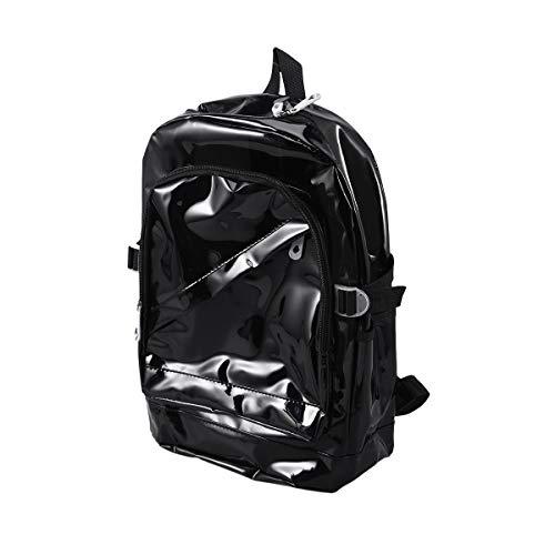 WINOMO リュック リュックサック 透明 クリア 痛バッグ 痛リュックメンズ レディース 軽量 大容量 双肩バッグ 旅行バック おしゃれ バックパック 調節可能 通勤通学(黒)
