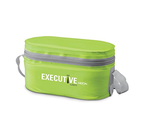 MILTON Stainless Steel Executive Lunch Box Soft Insulated Tiffin Box (2 Ss Container, 1 Microwave Safe Container), Green