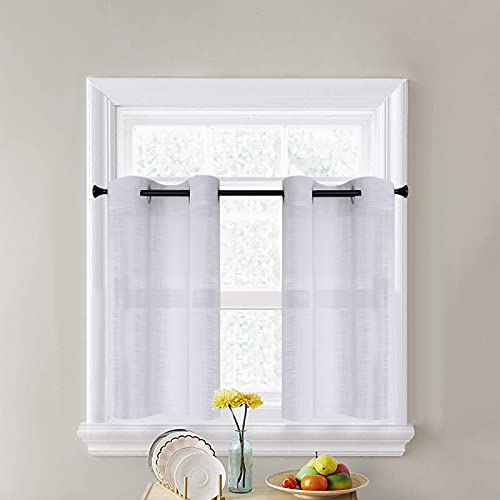 CUTEWIND White Kitchen Sheer Tier Curtains 36 Inch Length Bathroom Short Window Sheer Curtains Linen Texture Grommet Top Small Half Window Treatment (2 Panels, White, W25×L36 Inches )