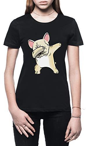 Gracioso Taponando Crema Francés Buldog Perro Mujer Camiseta Negro Tamaño XL -...