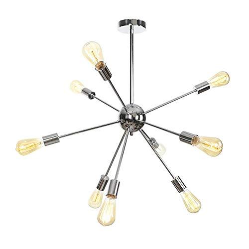 WYBW Lustre , E27 Sputnik Lustre 9-Light, Mid Century Vintage Suspension Industrielle, Nordic Laiton Brossé Starburst Plafonnier/Lampe pour Salon Cuisine Français Or 9 Têtes,Chrome