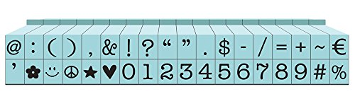 Contact USA Small 36-Piece American Typewriter Pegz Connectable Symbols and Numbers Stamp Set, Pool Blue