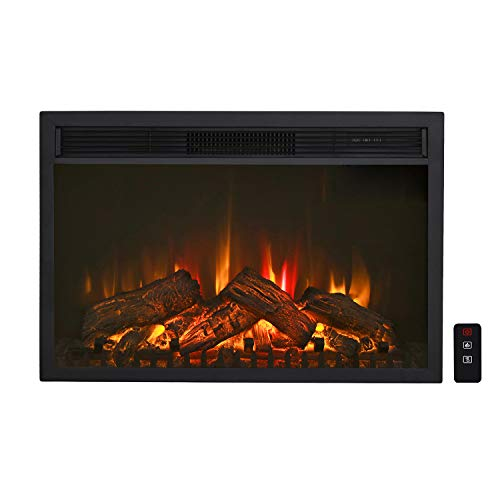 """Top Space Electric Fireplace Insert 30"""" CSA Certified Freestanding & Embedded Indoor Heater LED 3 Adjustable Flame Artificial Logs with Remote, 1400W/4777 BTU"""